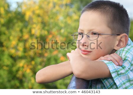 little boy is lean elbow on bridge fence and looking forward stock photo © paha_l