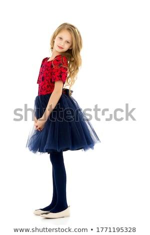 Csinos vörös haj lány kék ruha izolált Stock fotó © Elnur