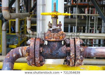 Oxidado válvula primer plano tiro grande industrial Foto stock © Nneirda