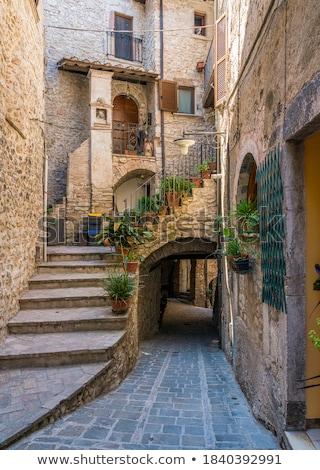 ősi keskeny utca Olaszország fal ajtó Stock fotó © OleksandrO