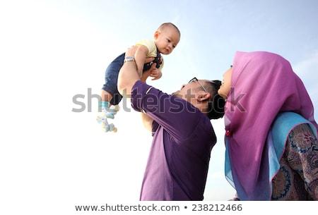 Boldog muszlim család nyári vakáció fa fa Stock fotó © zurijeta