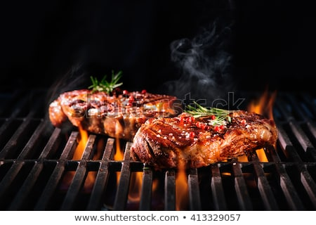 Carne grelha peças fumar laranja Foto stock © simply