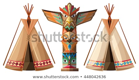 Set of teepees and totem pole Stock photo © bluering