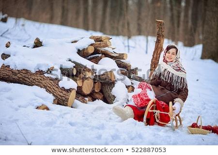 bella · russo · ragazza · slitta · tradizionale - foto d'archivio © svetography