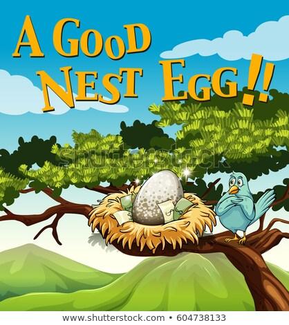 Kifejezés poszter jó fészek tojás illusztráció Stock fotó © bluering
