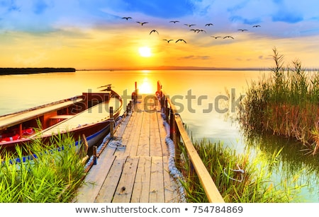 Landscape of lake sunset Stock photo © raywoo