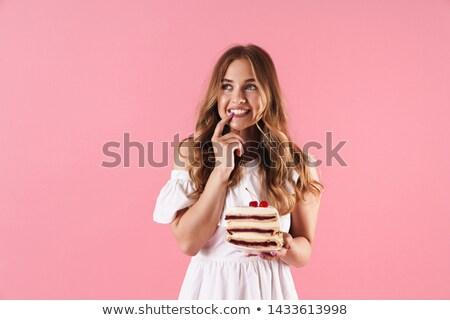 若い女性 少女 ケーキ 孤立した 白 笑顔 ストックフォト © Sibstock