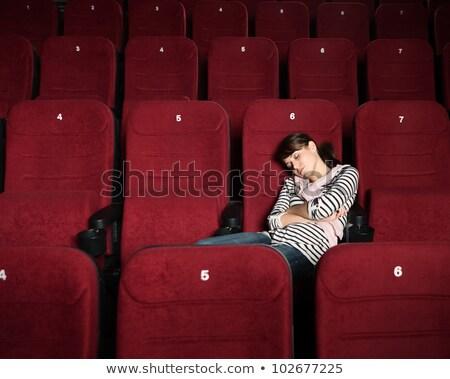 Jonge vrouw slapen theater man film bioscoop Stockfoto © wavebreak_media
