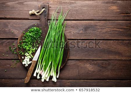 Сток-фото: ножом · выстрел · свежие · зеленый · лук