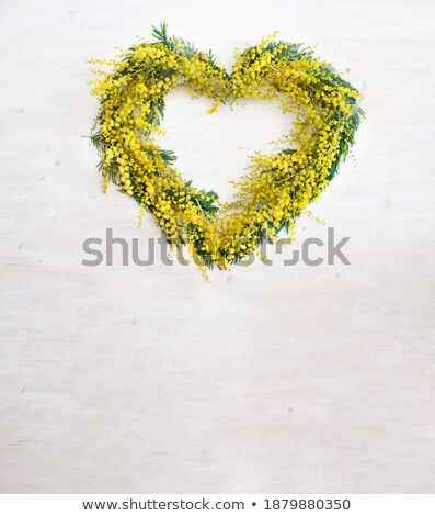 Sarı çiçekler kalp şekli metin yeşil Stok fotoğraf © orensila