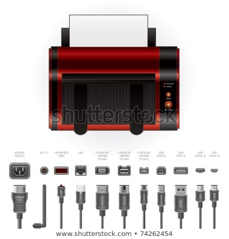 LaserJet Printer + Cables & Ports Stock photo © Vectorminator