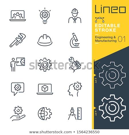 Computer engineering icon versnelling laptop ontwikkeling Stockfoto © WaD