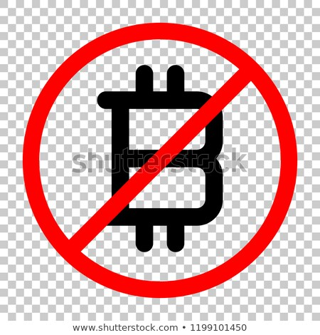 Black Bitcoin stop sign symbol in red crossed circle Stock photo © orensila