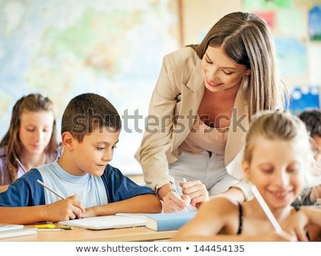 mooie · vrouw · boeken · klas · school · achtergrond · onderwijs - stockfoto © sumners