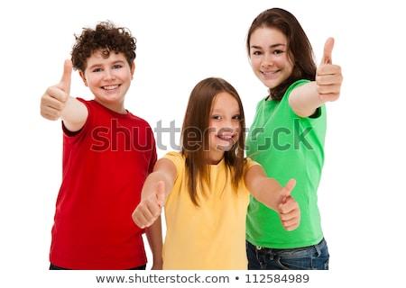 Trzy szczęśliwy młodych nastolatek studentów Zdjęcia stock © vlad_star