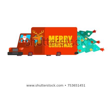 Postar carro árvore de natal presentes Foto stock © MaryValery