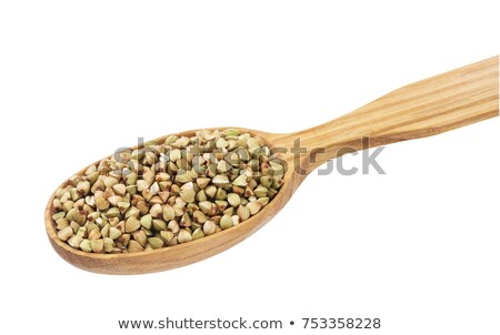 Stock photo: Green buckwheat Porridge in plate and spoon isolated. Healthy fo