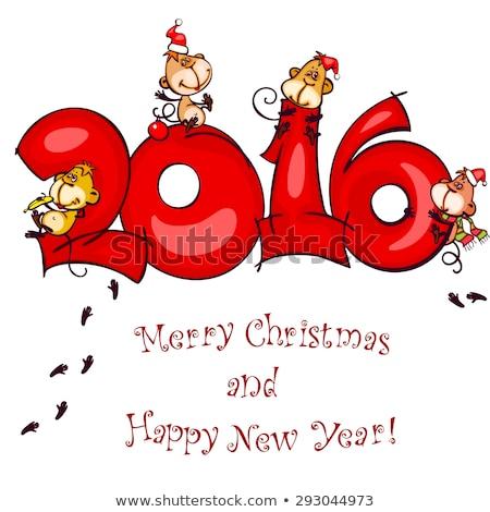 Gelukkig nieuwjaar komische aap gefeliciteerd 2016 Stockfoto © alexanderandariadna