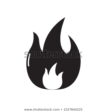 Fire symbol isolated. Flame on black background. Vector illustra Stock photo © MaryValery