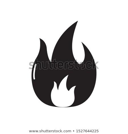 огня символ изолированный пламени черный вектора Сток-фото © MaryValery