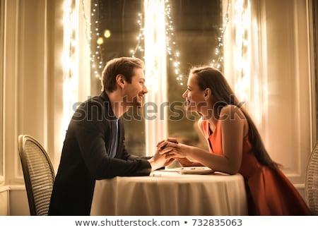 casal · vidro · vinho · casa · festa · jantar - foto stock © is2