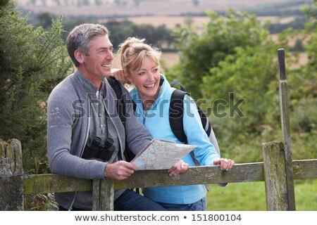 зрелый пару бинокль женщину лес природы Сток-фото © IS2
