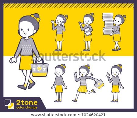 2tone type Polka dot clothes ribbon girl_set 02 Stock photo © toyotoyo