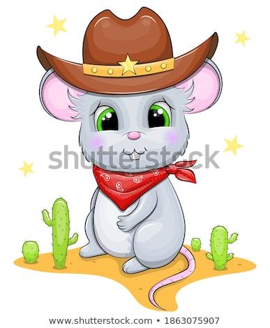 Rajz mosolyog cowboy egér boldog Stock fotó © cthoman