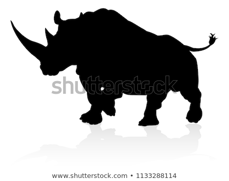 Cartoon Rhino Silhouette Charging Stock photo © cthoman