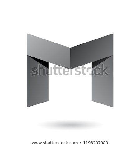 Grey Folded Paper Letter M Vector Illustration Stock photo © cidepix