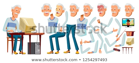 Asian Old Man Vector. Senior Person. Aged, Elderly People. Emotional, Pose. Face Emotions, Various G Stock photo © pikepicture