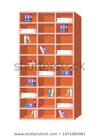 Bookcase with Multi Shelves Full of Paper Document Stock photo © robuart