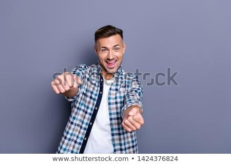 男 ハンドル 若い男 黒 白 ストックフォト © ra2studio