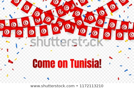 Tunicia garland flag with confetti on transparent background, Hang bunting for celebration template  stock photo © olehsvetiukha