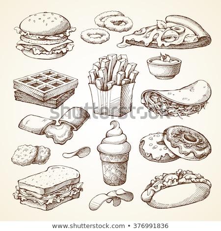 ソフトドリンク · カップ · ハンバーガー · プラスチック · わら · モノクロ - ストックフォト © robuart