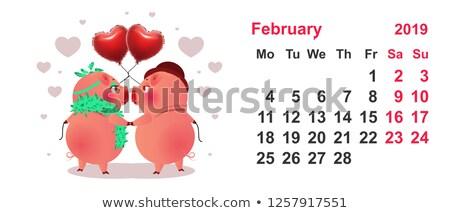 豚 カップル シンボル 年 カレンダー グリッド ストックフォト © orensila