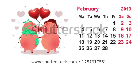 Pig couple symbol 2019 year. Calendar grid february Stock photo © orensila