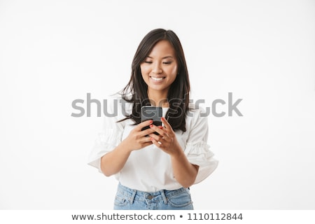 Retrato animado menina longo cabelo escuro em pé Foto stock © deandrobot