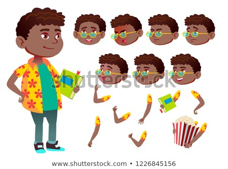 boy child kid teen vector black afro american schoolchildren teen face emotions various ges stock photo © pikepicture