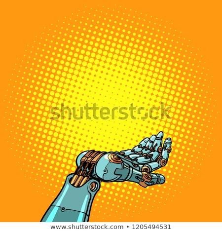 human and robot hands presentation gesture stock photo © studiostoks