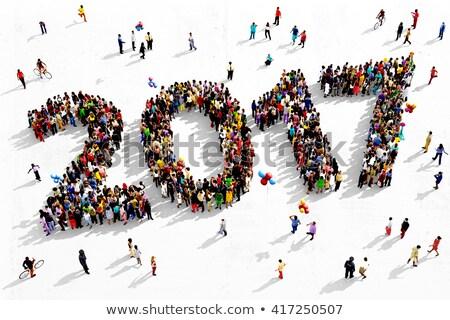 Natal ano novo diverso pessoas grupo bandeira Foto stock © cienpies