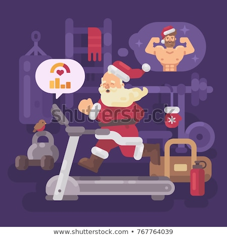 Santa Claus exercising and getting into shape for Christmas. San stock photo © IvanDubovik