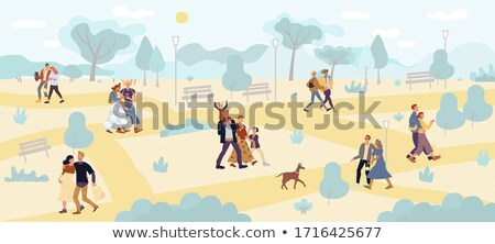 Young Teenagers Resting in Park Together Vector Stock photo © robuart