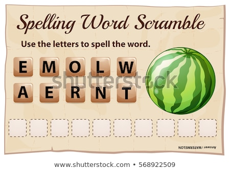 Spelling word scramble game template with word watermelon Stock photo © colematt
