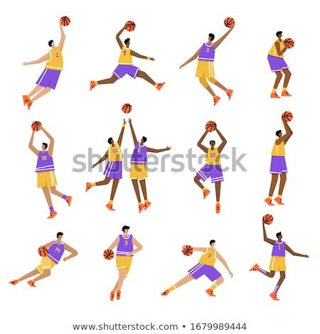 Rajz fekete kosárlabdázó ugrik illusztráció afroamerikai nő Stock fotó © cthoman