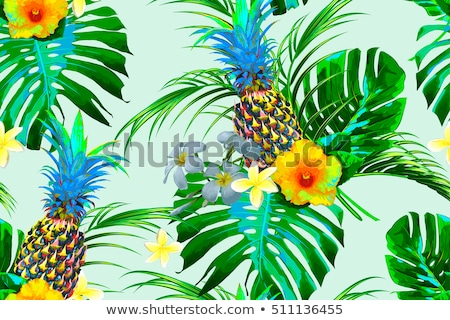 Stock photo: pineapples, palm leaves, jungle leaf, monstera pattern