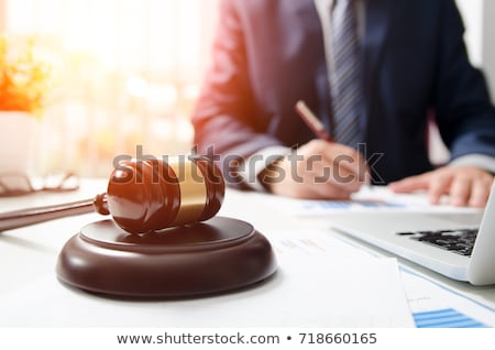 mallet and gavel on the businessmans desk stock photo © andreypopov