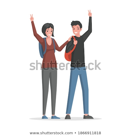 young casual couple is walking and welcoming  Stock photo © feedough