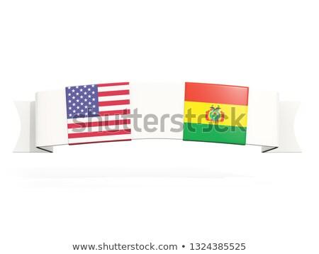 баннер два квадратный флагами Соединенные Штаты Боливия Сток-фото © MikhailMishchenko