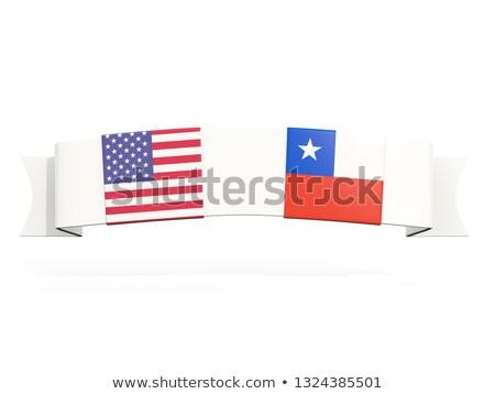 Afiş iki kare bayraklar Amerika Birleşik Devletleri Şili Stok fotoğraf © MikhailMishchenko